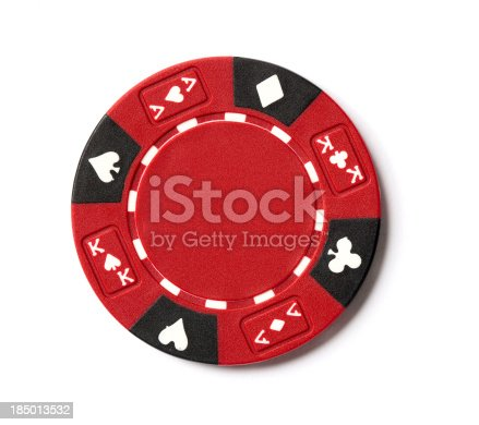 A picture of a red poker chip on a white background.