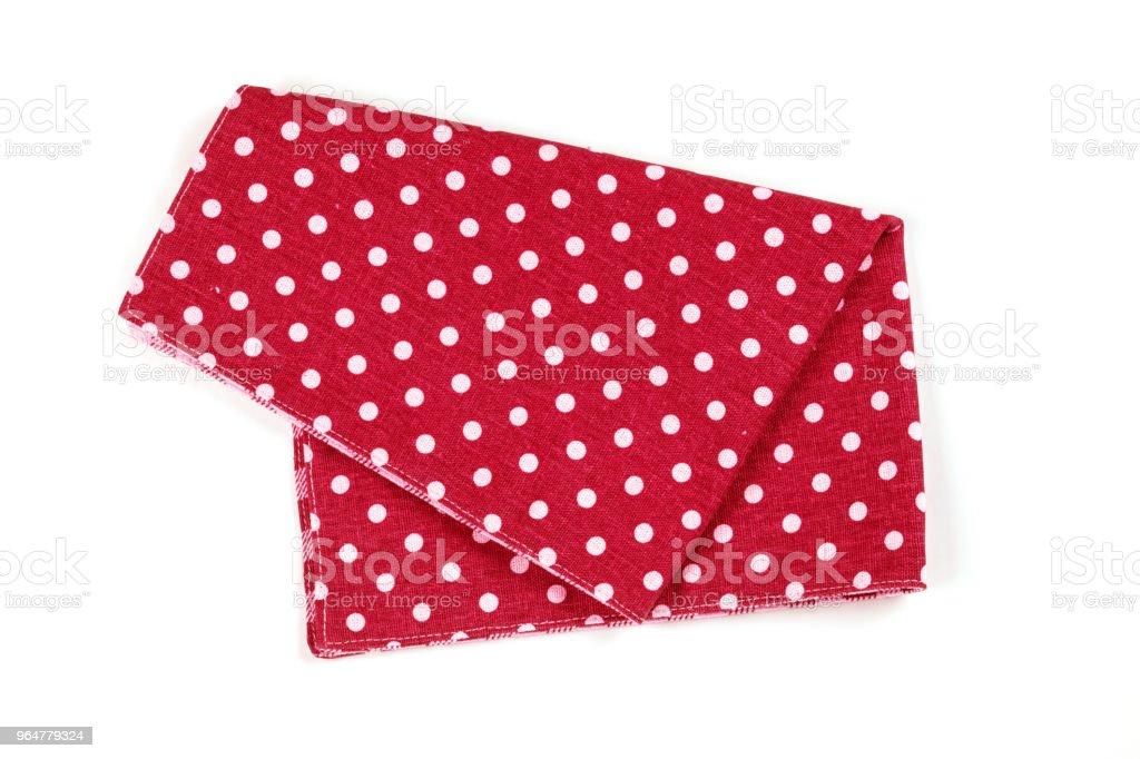 red polka dot checkered napkin table clothes  on white background. royalty-free stock photo