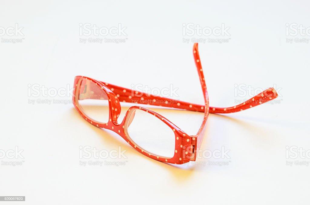 Red Polka Dot Reading Glasses stock photo