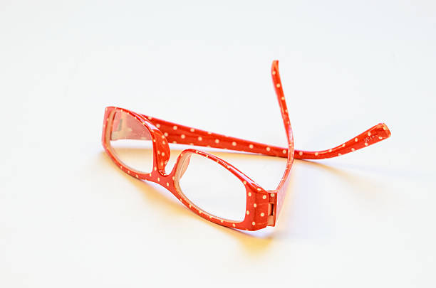 Red Polka Dot Reading Glasses stock photo