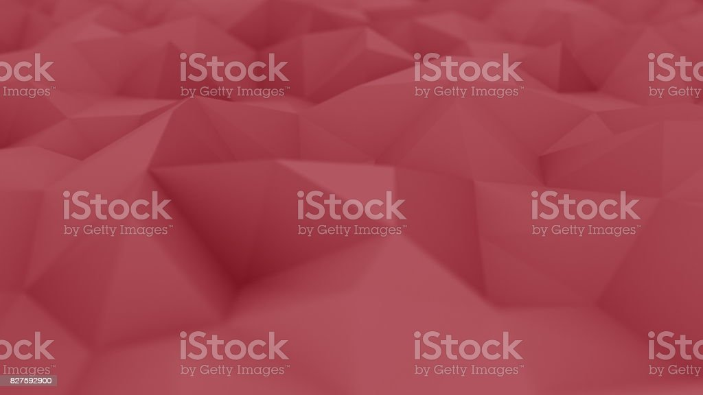 Red polygonal background, shallow focus. 3D rendering stock photo