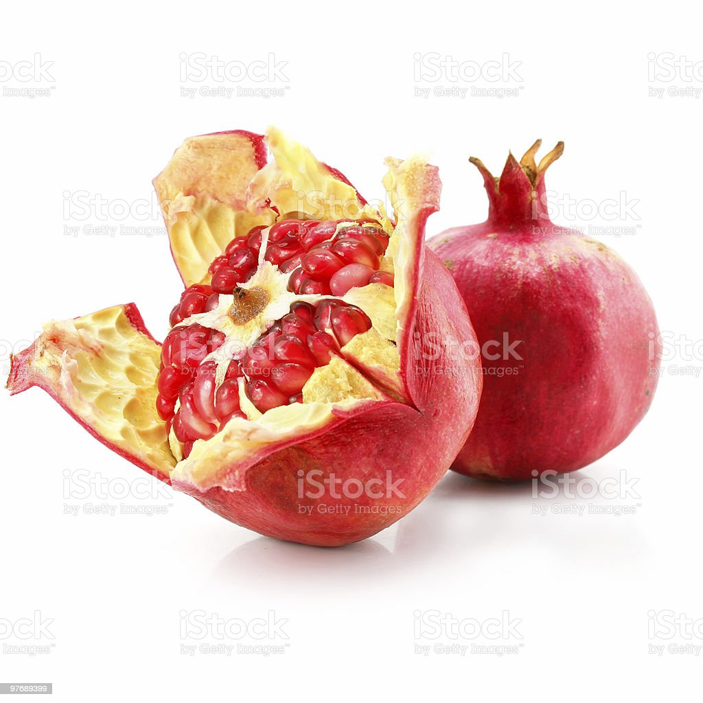 red pomegranate fruit healthy food isolated royalty-free stock photo