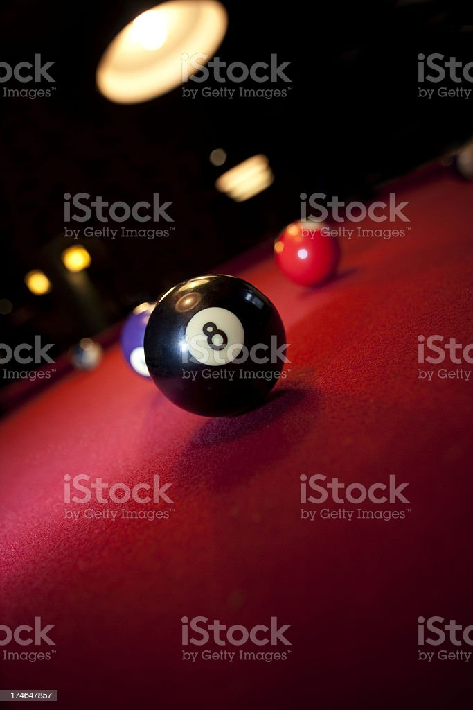 Red Pool Table with Eight Ball royalty-free stock photo
