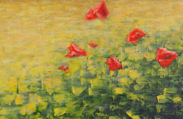 red poppies on the field. oil painting background. palette knife texture. - impressionist painting stock photos and pictures