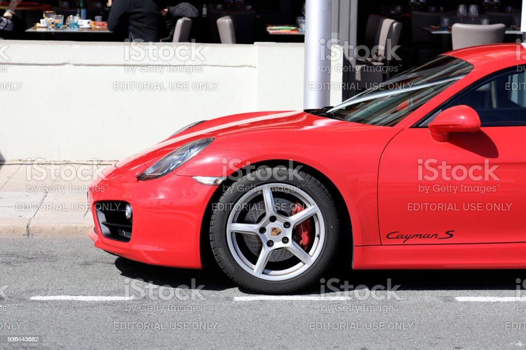 Red Porsche 718 Cayman S - Side View stock photo
