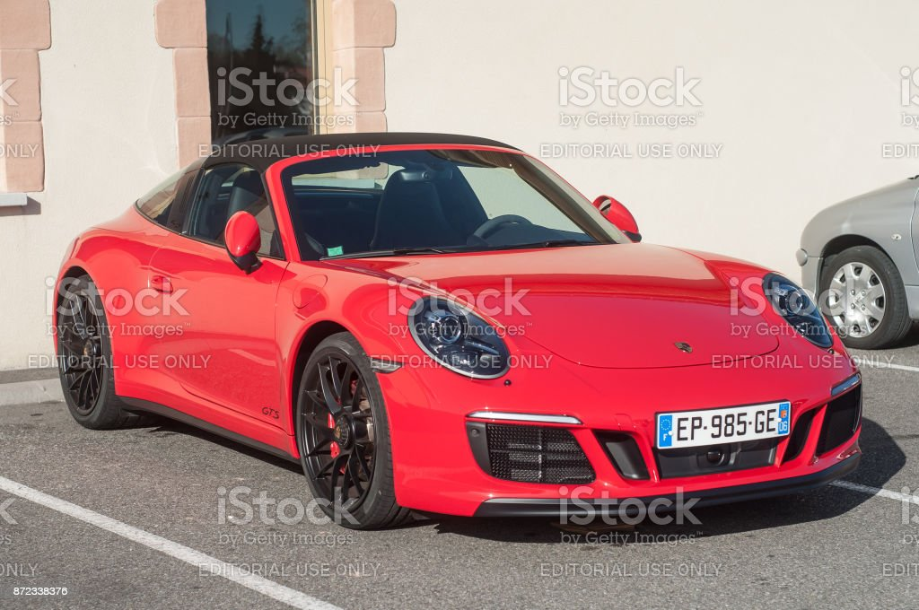red Porsche 911 GTS carrera in outdoor parking Rixheim - France - 1 November 2017 - red Porsche 911 GTS carrera in outdoor parking Car Stock Photo