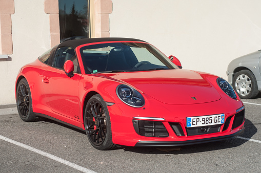 Red Porsche 911 Gts Carrera In Outdoor Parking Stock Photo - Download Image Now