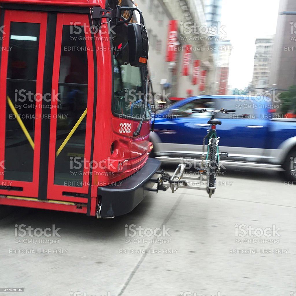 Red Port Authority Bus with Bike and Rack in Pittsburgh stock photo