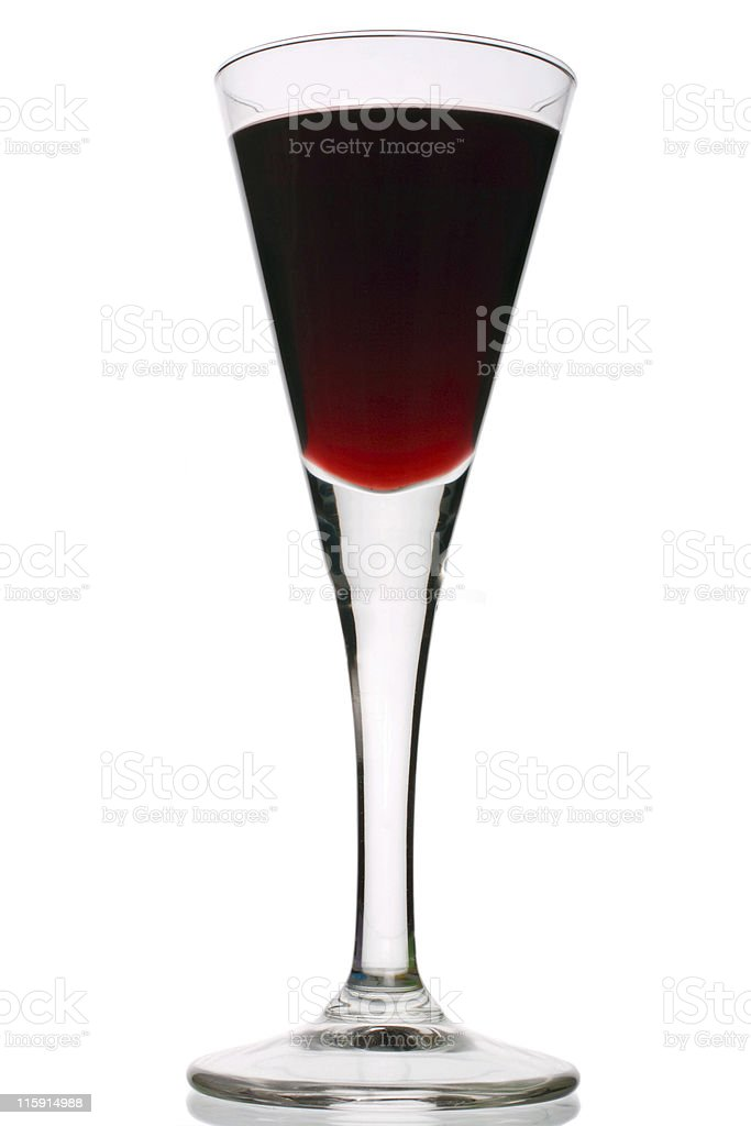Red port in stemmed glassware on white background royalty-free stock photo