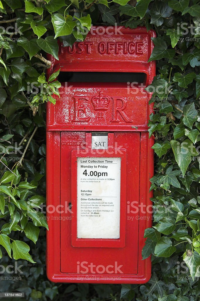 Red post box royalty-free stock photo