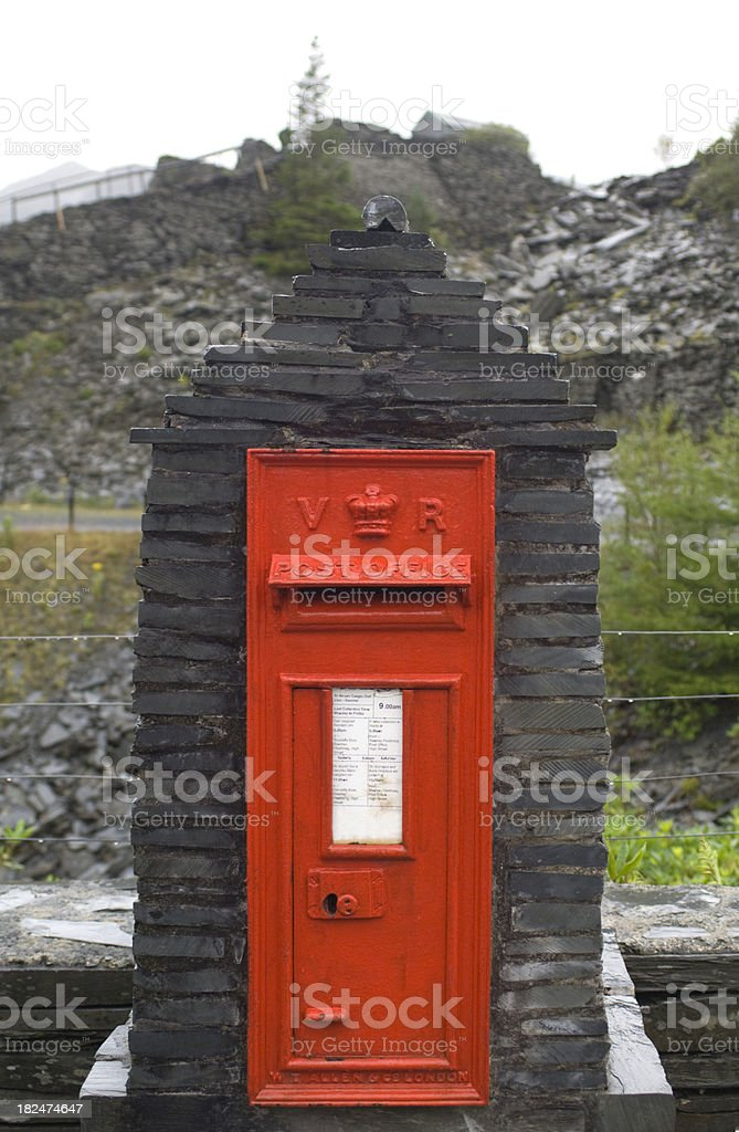 Red post box, Wales stock photo