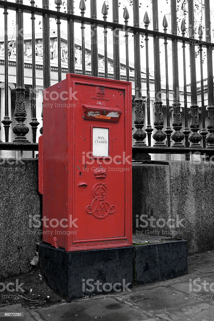 Red Postbox in front of the British Museum - London stock photo