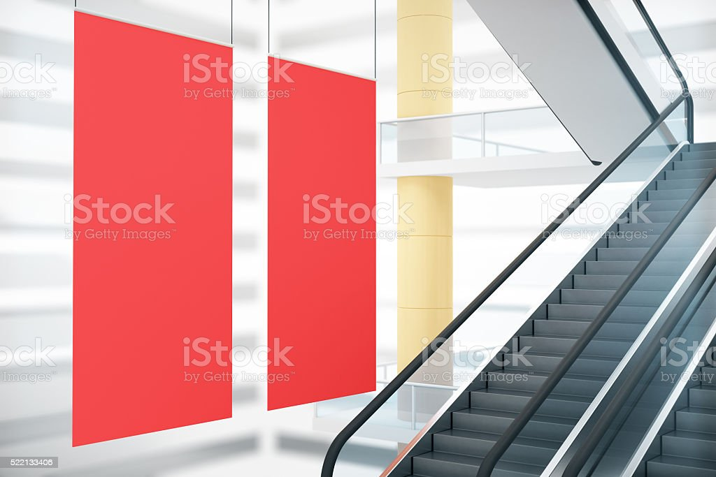 Red posters and staircase stock photo