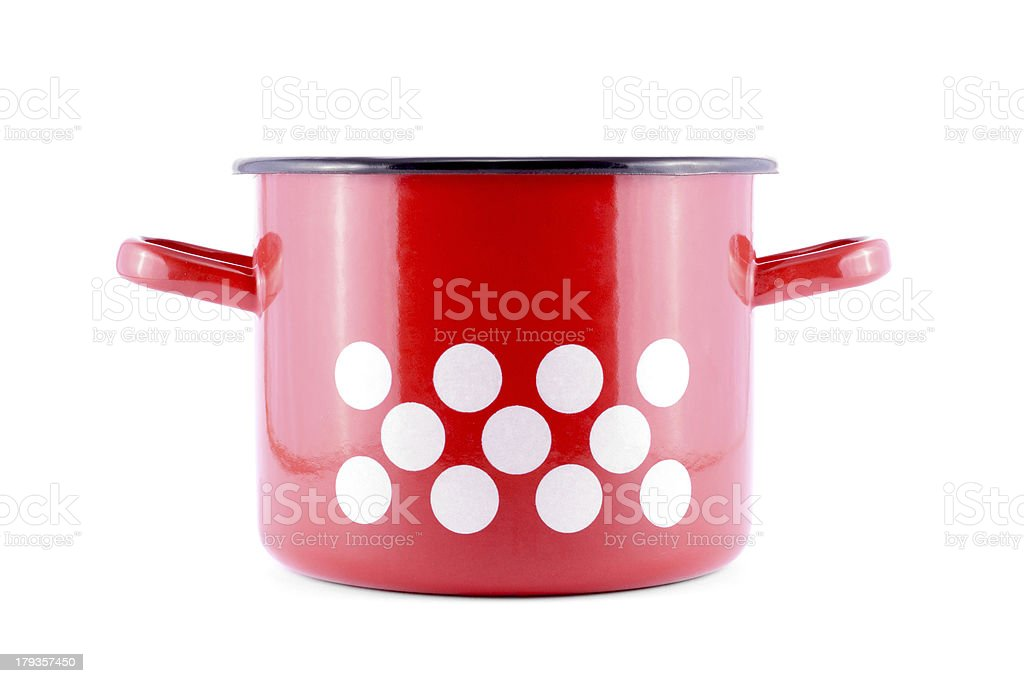 Red pot with white spots royalty-free stock photo