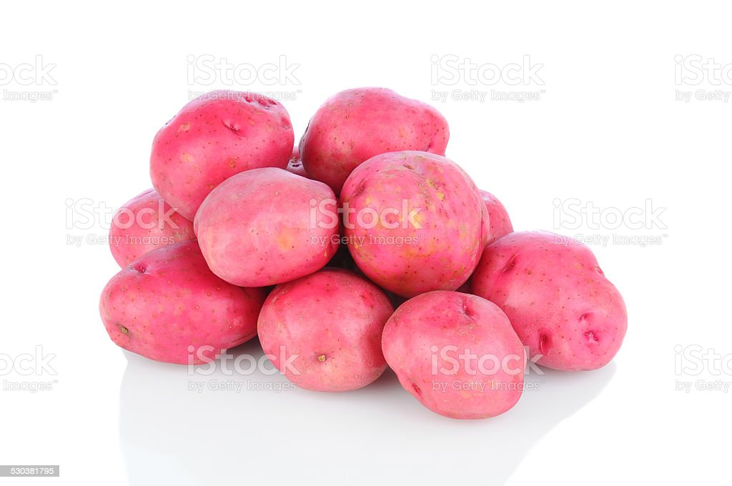 Red Potatoes on White stock photo