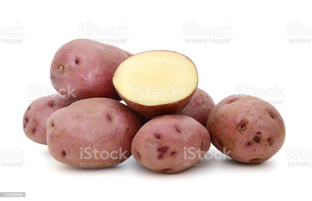 red potatoes on white stock photo