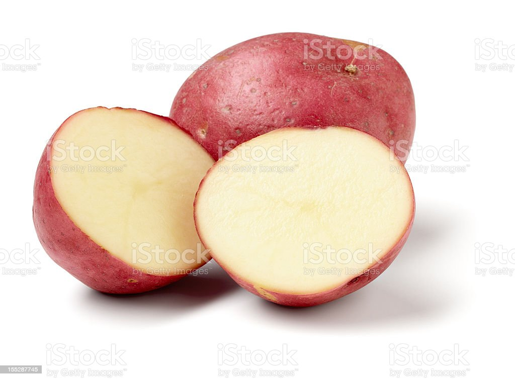 Red Potatos, sliced stock photo