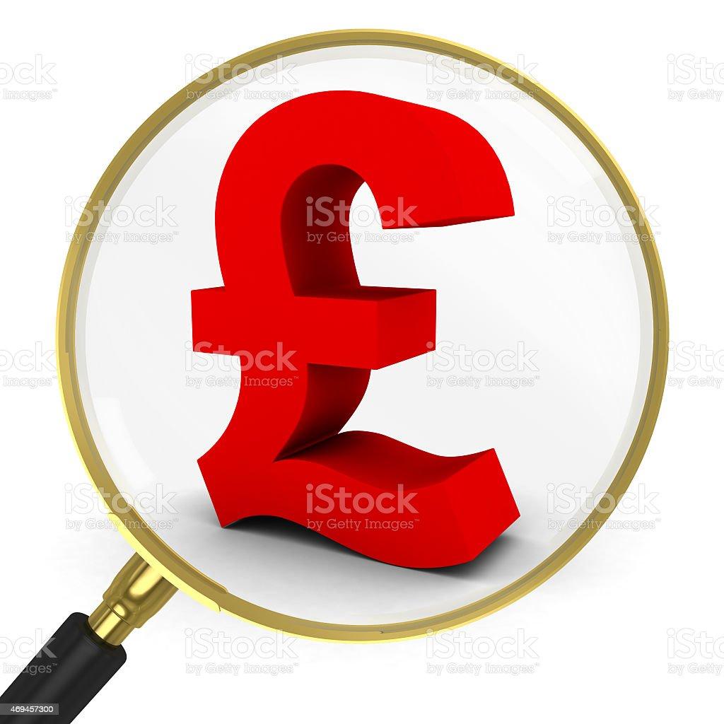 b22820af39 Regno Unito, Affari, Affari finanza e industria, Bianco, Brillante. Rosso  Simbolo della sterlina sotto una lente di ...