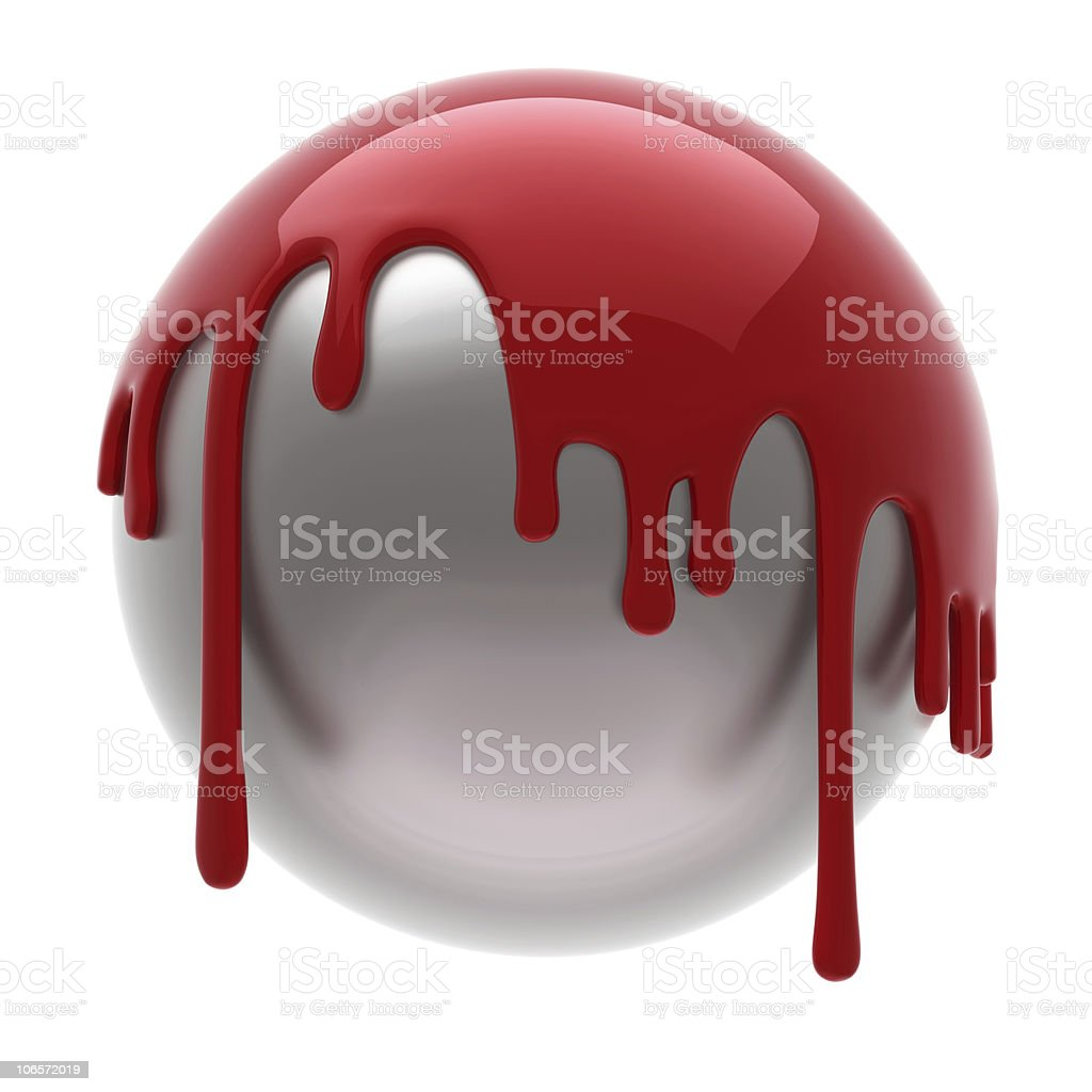 red poured ball stock photo