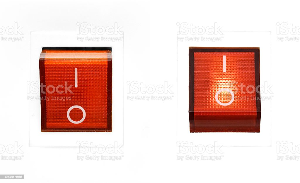 Red Power Switch - ON/OFF stock photo