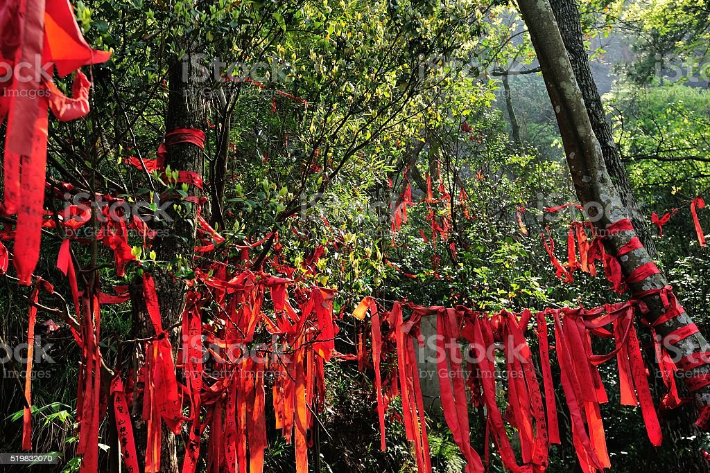 Red Prayer Cloth Hanging In The Trees Stock Photo - Download