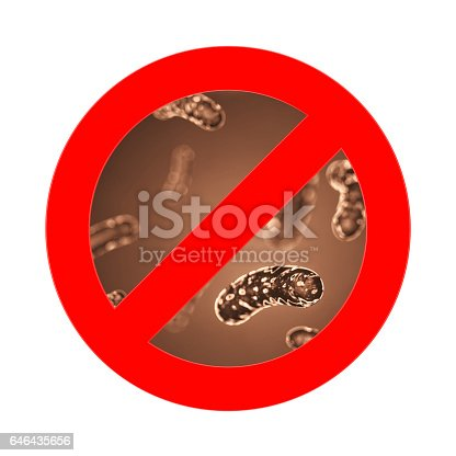 646435702 istock photo Red Prohibition Sign with closeup Bacteria, Viruse, Microbe. 3d Rendering 646435656