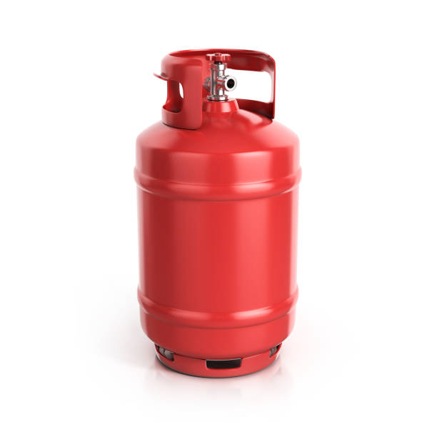 red propane cylinder with compressed gas 3d illustration stock photo