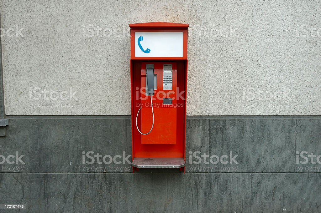red public phone royalty-free stock photo