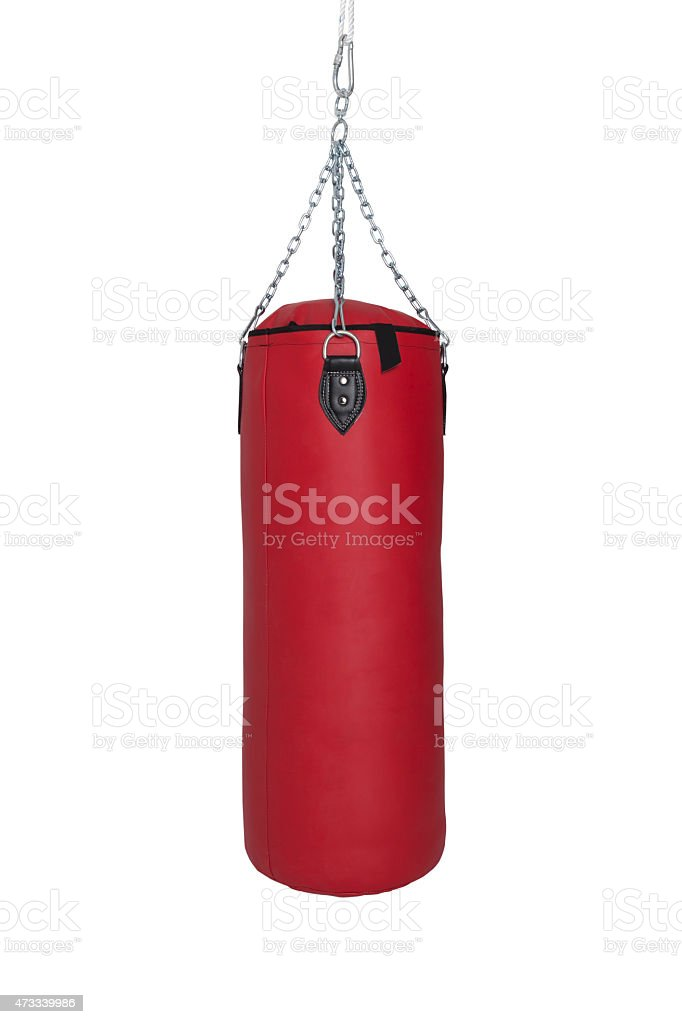 Red Punch Bag (with clipping path) stock photo