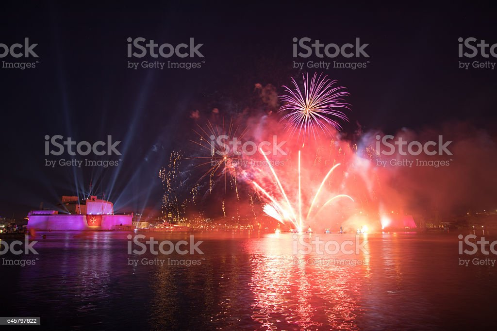 Red & Purple Fireworks over the Grand Harbour, Fort St. stock photo