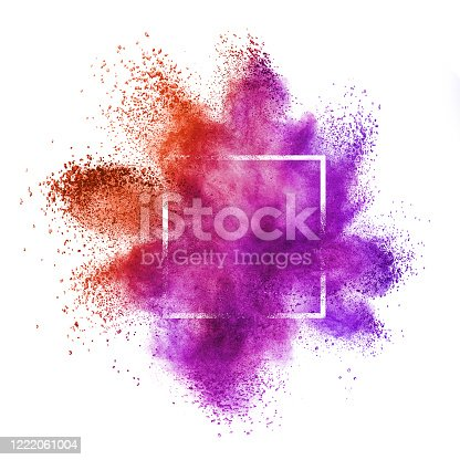874001974 istock photo Red purple powder explosion in a frame on a white background. 1222061004