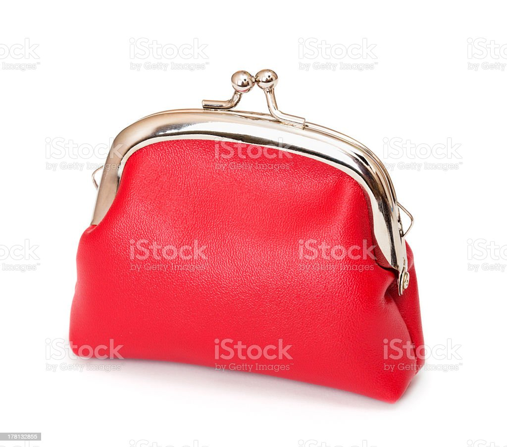 Red purse on white stock photo
