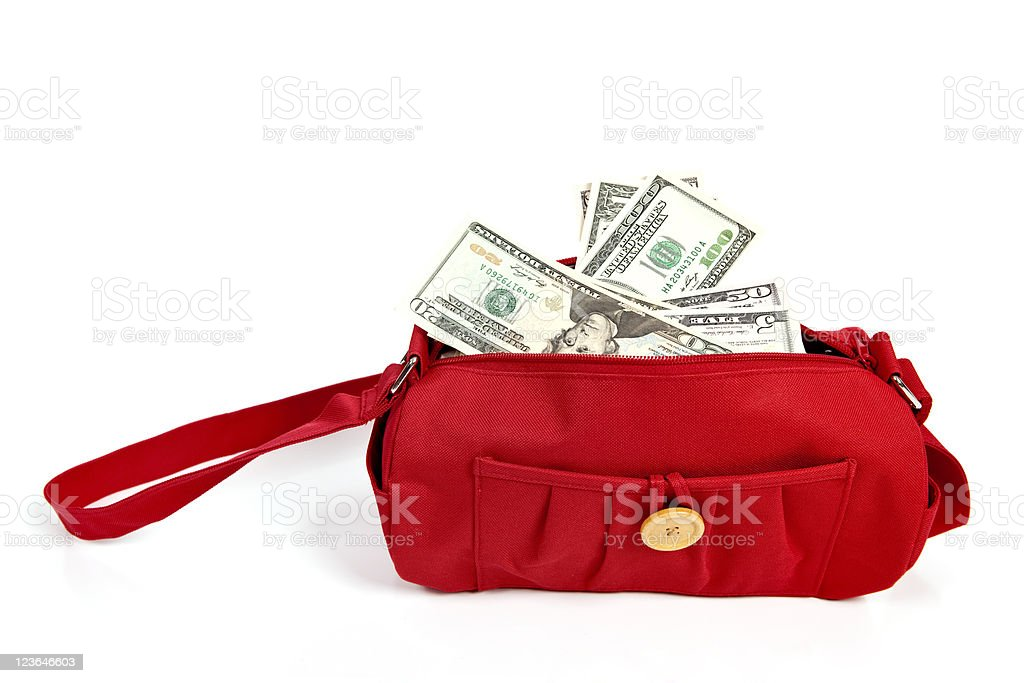 Red Purse Stuffed With Currency royalty-free stock photo