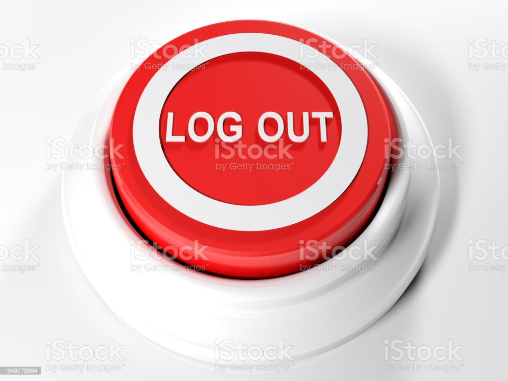 LOG OUT red push button - 3D rendering stock photo