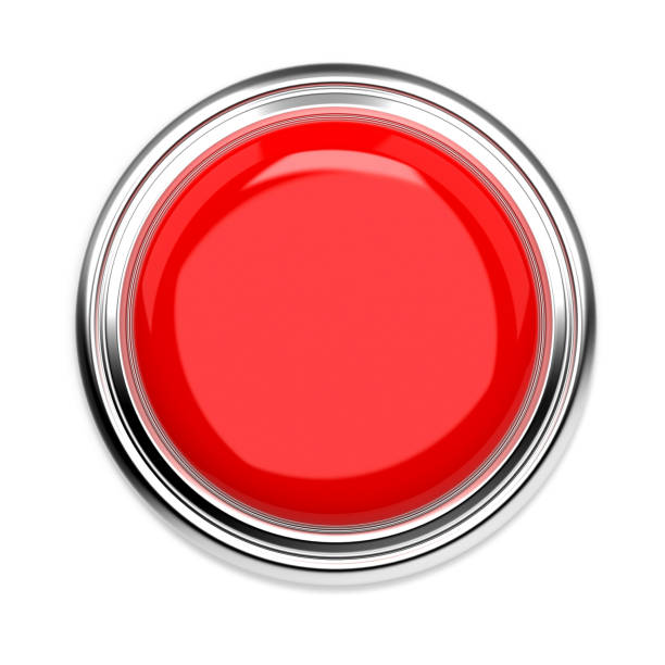 Red push button. Alarm sign, top view. 3d rendering illustration isolated Red push button. Alarm sign, top view. 3d rendering illustration isolated on white background push button stock pictures, royalty-free photos & images