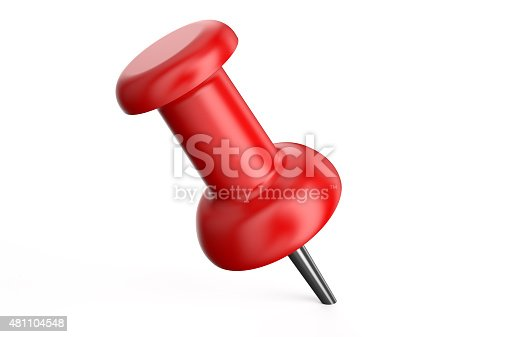 red push pin closeup isolated on white background