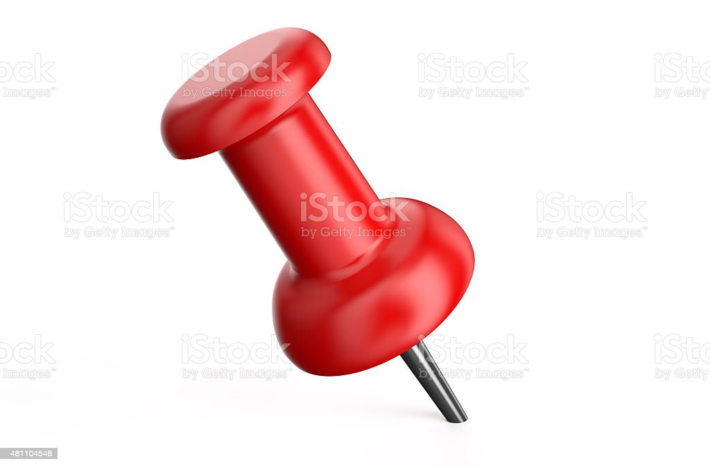 red push pin closeup stock photo