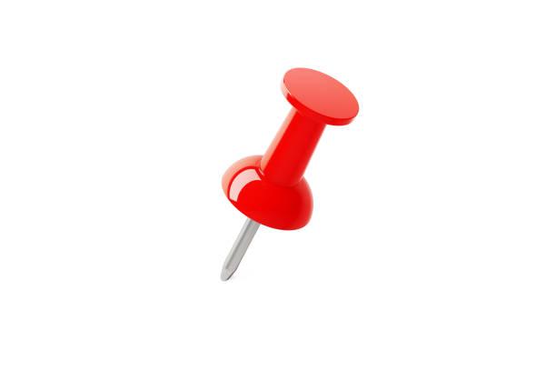 Roter Push Pin isoliert auf weißem Hintergrund – Foto