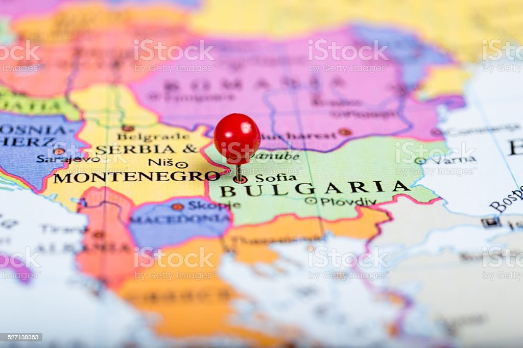 Red push pin on map of Bulgaria stock photo