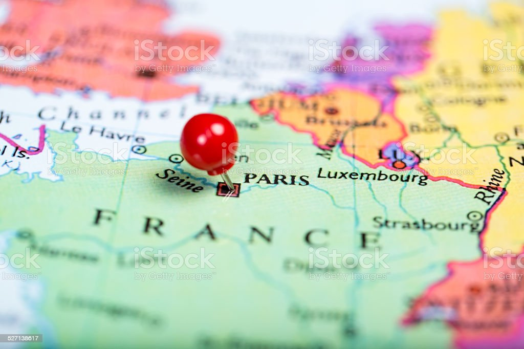 Red push pin on map of France stock photo