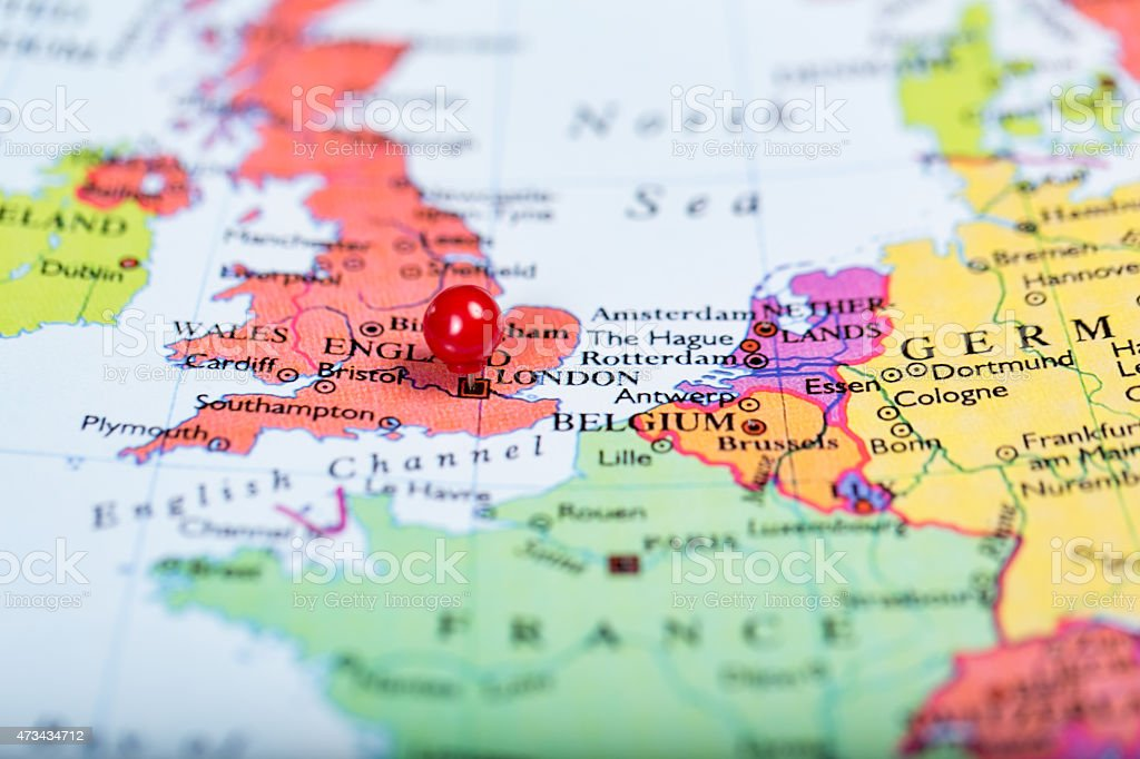 Red push pin on map of Great Britain stock photo