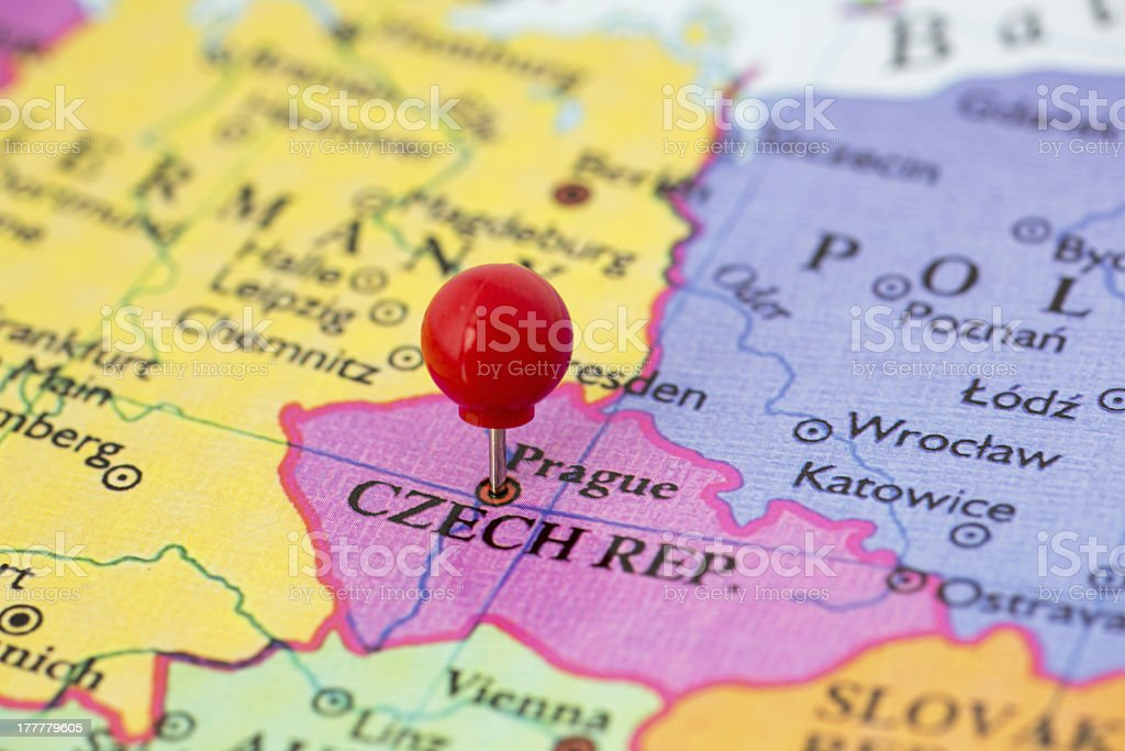 Red Pushpin on Map of Czech Republic stock photo