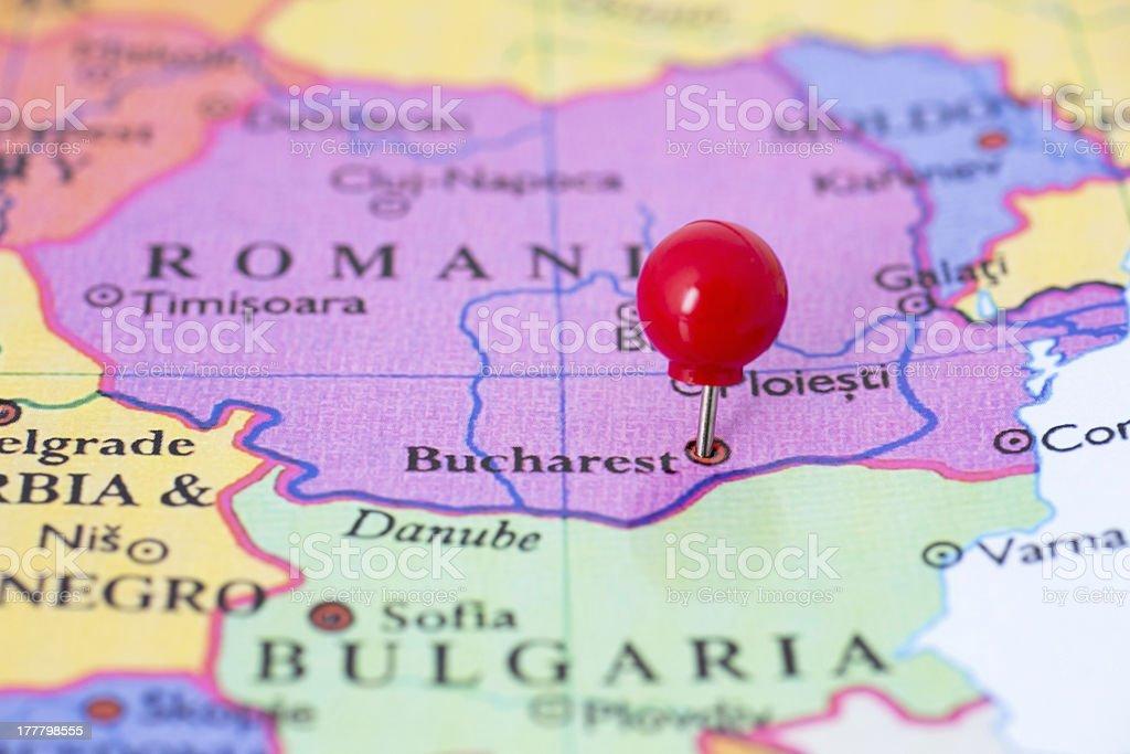 Cartina Geografica Fisica Della Romania.Rosso Dei Perni Mappa Della Romania Fotografie Stock E Altre Immagini Di Carta Geografica Istock