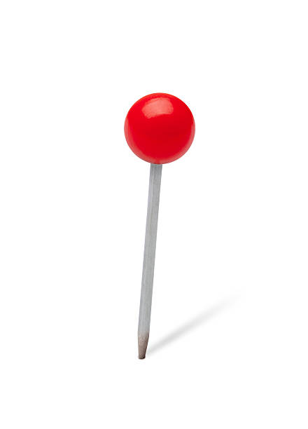 Red pushpin Red pushpin on white. straight pin stock pictures, royalty-free photos & images