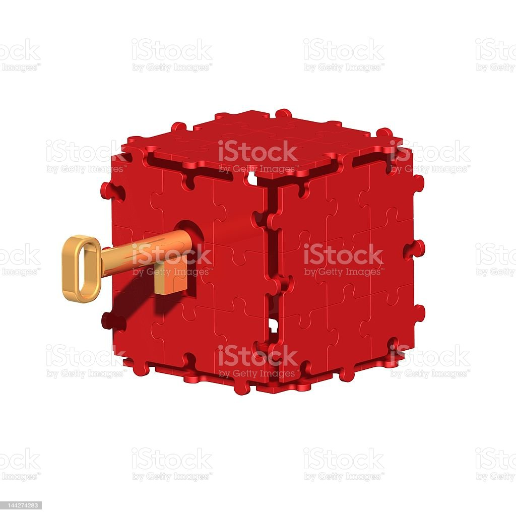 Red Puzzle Box with Key royalty-free stock photo