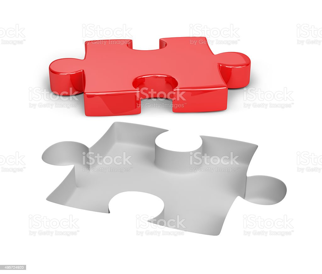 Red puzzle stock photo