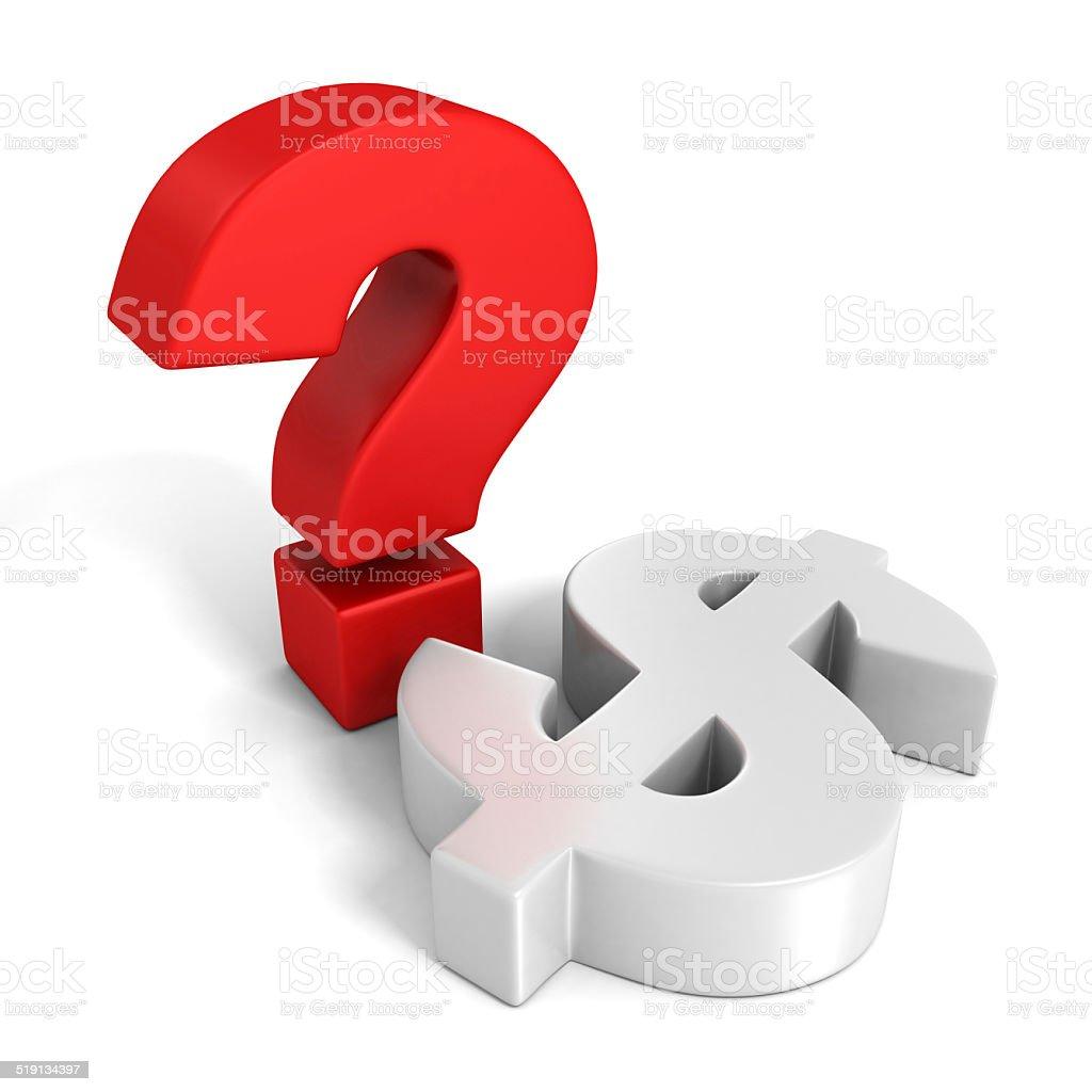 Rote Fragezeichen und weißen dollar-Währung symbol – Foto