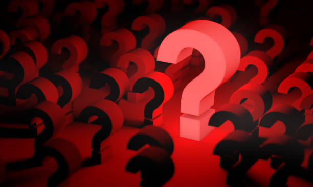 Red question mark background and dark space or room stock photo
