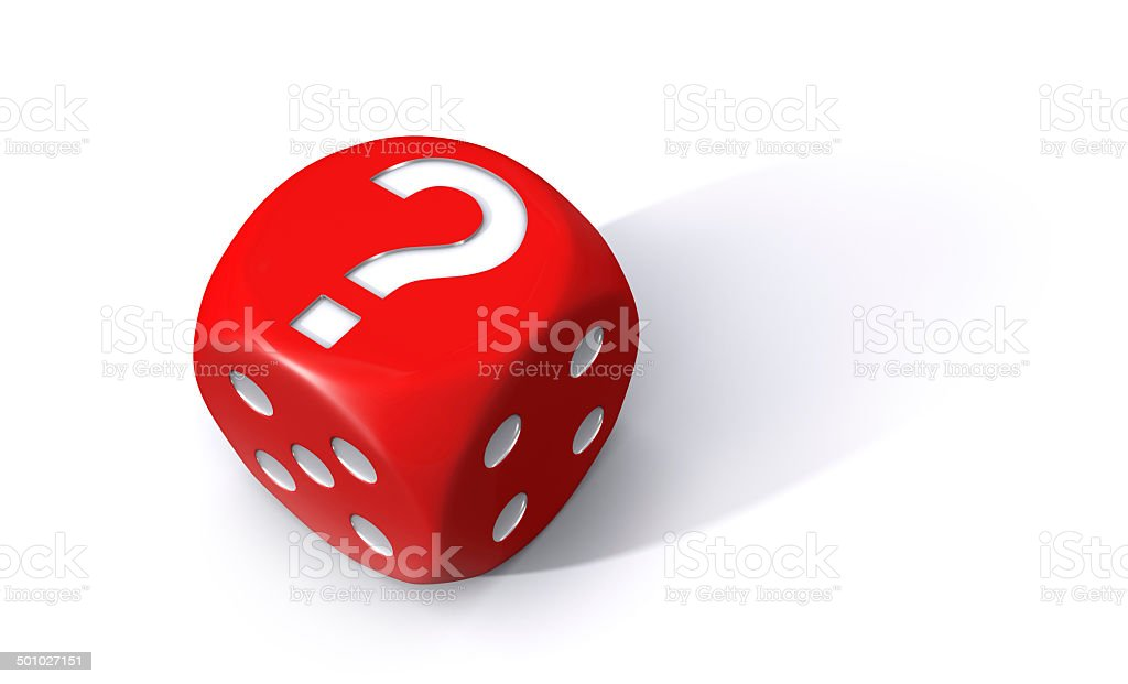 Red question mark dice stock photo