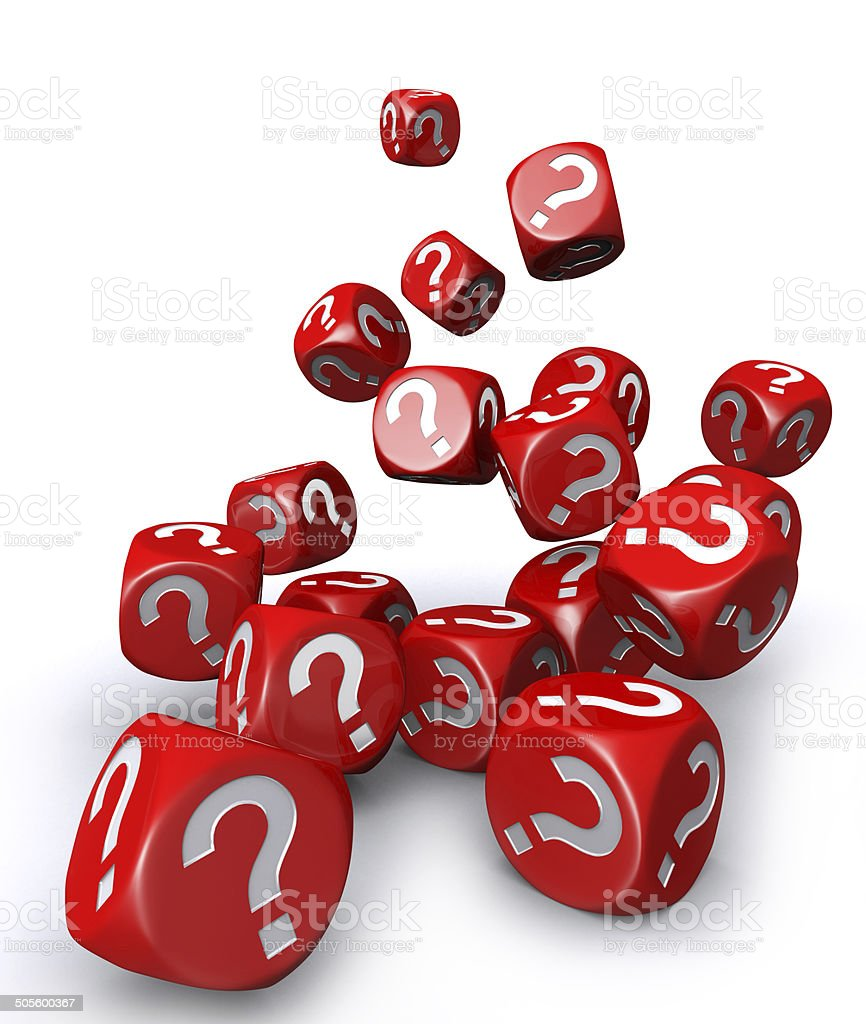 Red question mark dices falling down stock photo